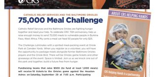 Catholic Relief Services and the Baltimore Orioles Partner on the 75,000 Meal Challenge on September 9th