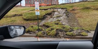Portion of Federal Hill Park Slides into Street and Sidewalk