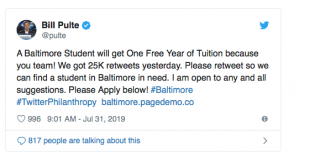 Philanthropist Bill Pulte Offers to Pay for a Baltimore City Student's Tuition