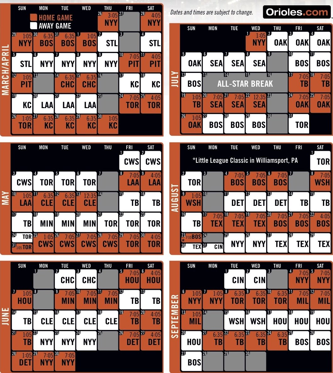 Orioles Schedule 2020.Orioles Release 2020 Schedule With Earlier Start Times On