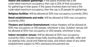 Baltimore City Loosens COVID-19 Restrictions on Indoor Dining, Recreational Facilities, Religious Facilities, and Retail Establishments