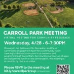 Carroll Park Community Vision Meeting Scheduled for April 28th