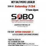 SOBO Strength and Performance Open House and Grand Opening on Saturday